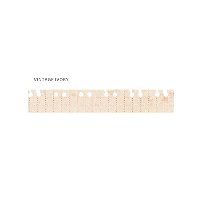 Vintage ivory - O-CHECK Pattern 15mm X 10m paper masking tape