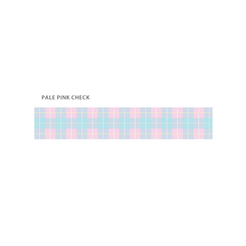 Pale pink check - O-CHECK Pattern 15mm X 10m paper masking tape