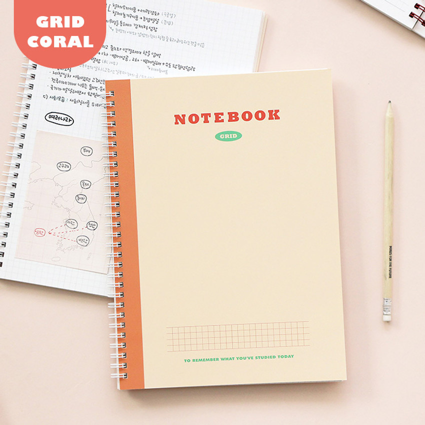 Grid Coral - Indigo Basic B5 wire binding grid notebook