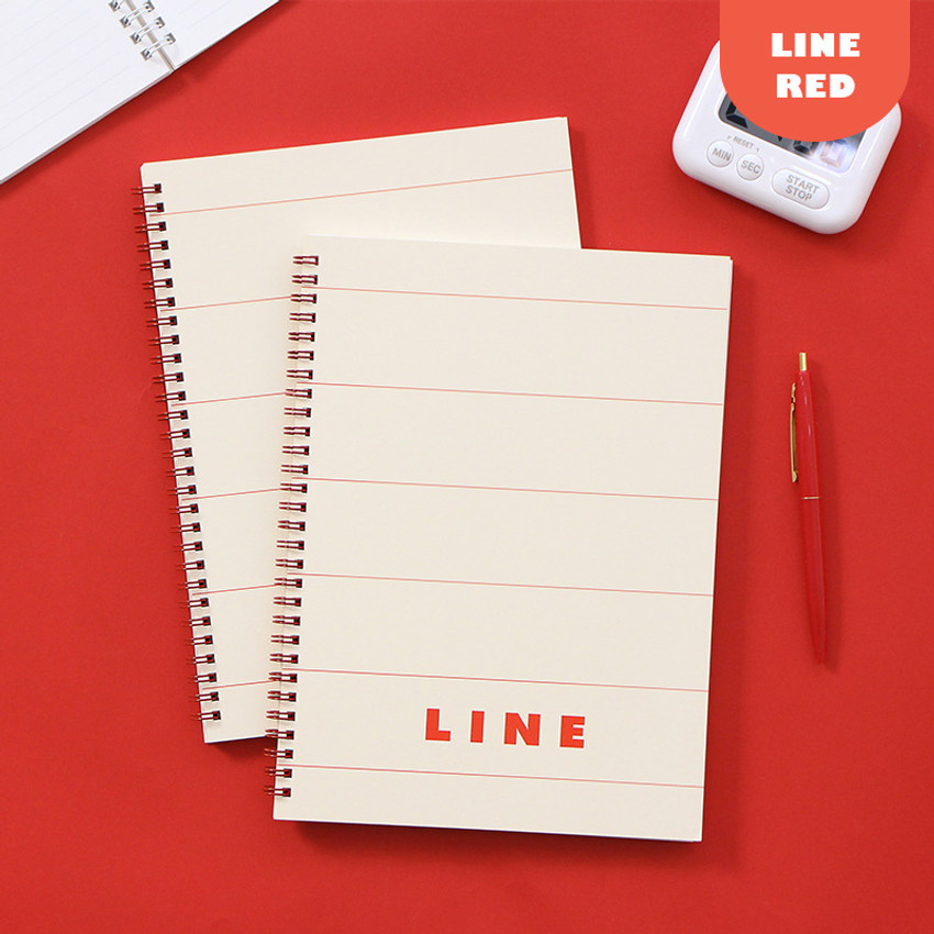 Lined Red - Indigo Basic B5 sprial binding lined notebook