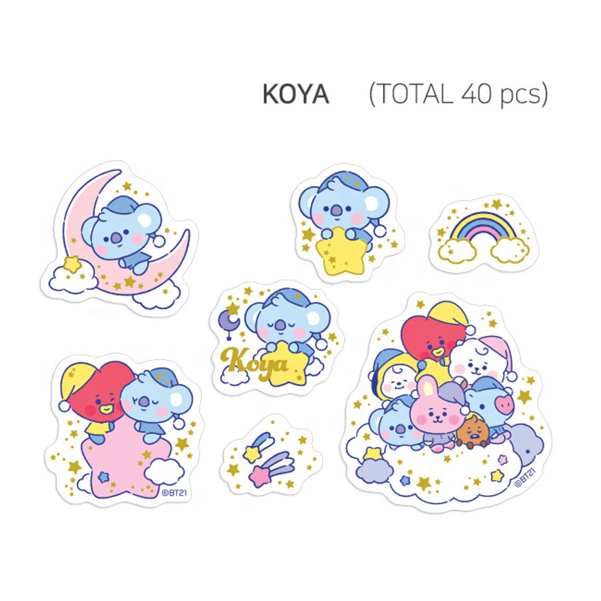KOYA - BT21 Dream baby clear sticker flake pack