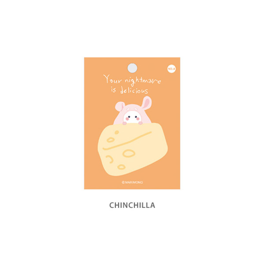 Chinchilla - Flying Whales Marimong bookmark sticky notepad B set