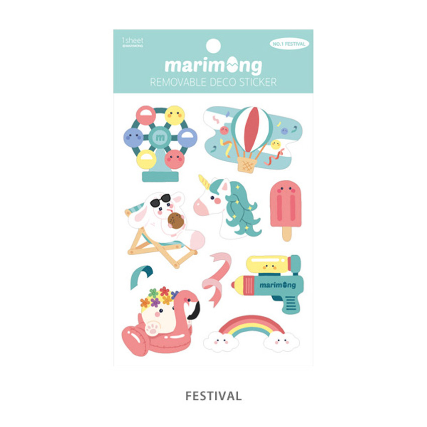 Festival - Flying Whales Marimong removable paper sticker