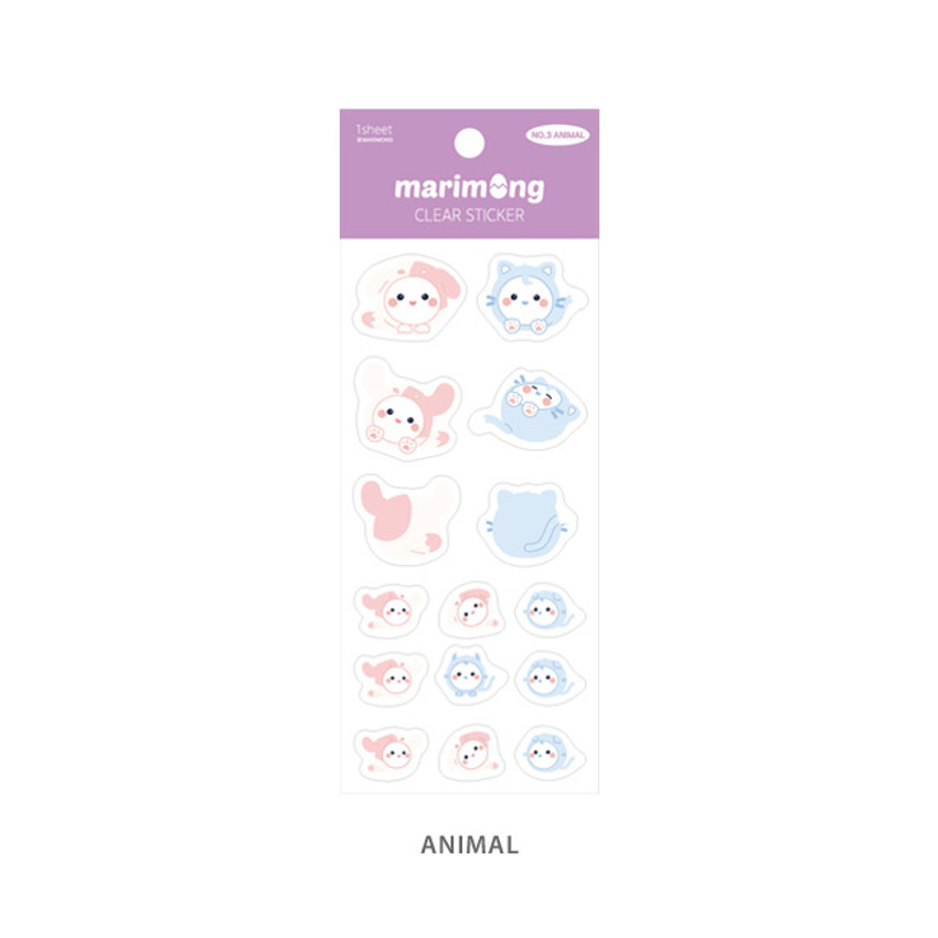 Animal - Flying Whales Marimong PVC clear sticker