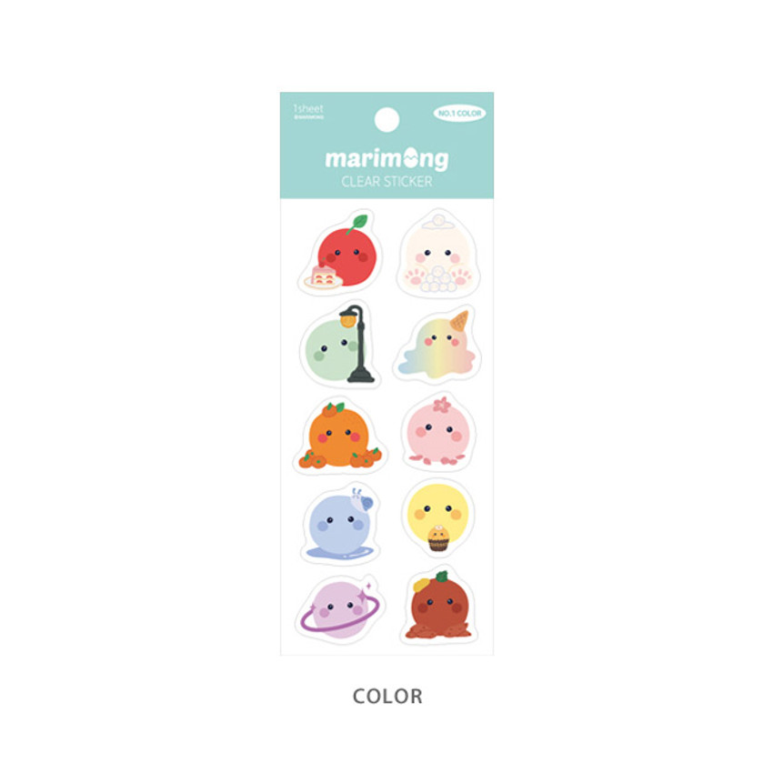 Color - Flying Whales Marimong PVC clear sticker