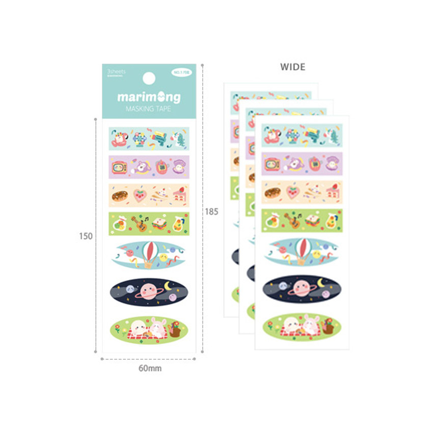 Wide - Flying Whales Marimong cute masking deco sticker seal