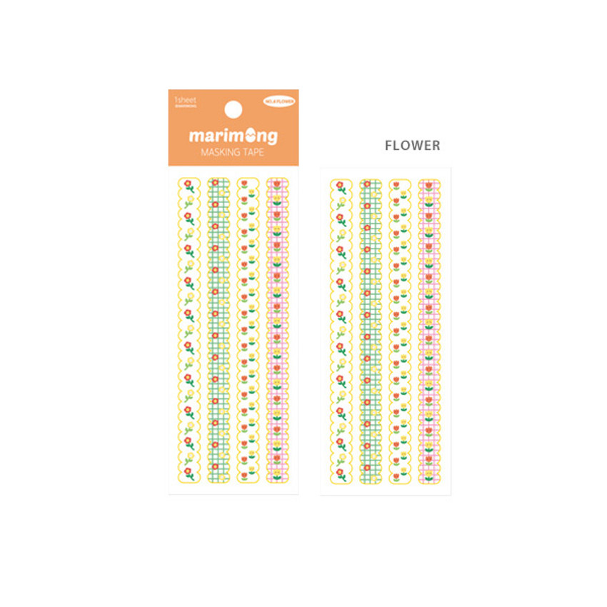 Flower - Flying Whales Marimong cute masking deco sticker seal