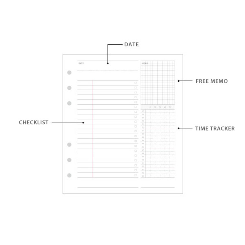 Detail of Jam Studio Study planner wide A6 6 ring paper refill set