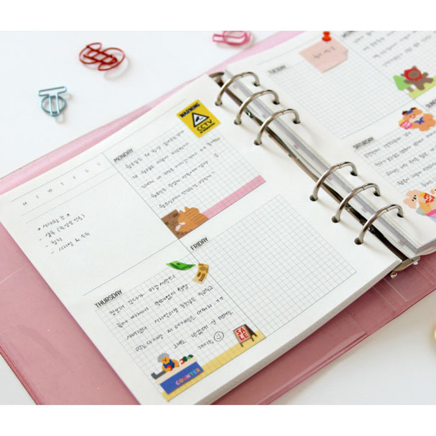 Usage example - Jam Studio Weekly planner wide A6 6 ring paper refill set