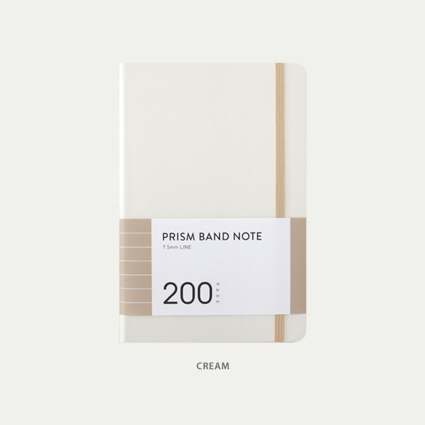 Cream - Indigo Prism 200 hardcover lined notebook with elastic band