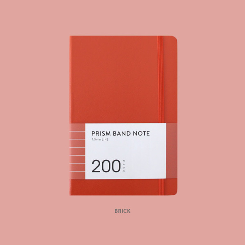 Brick - Indigo Prism 200 hardcover lined notebook with elastic band