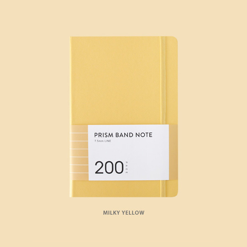 Milky yellow - Indigo Prism 200 hardcover lined notebook with elastic band