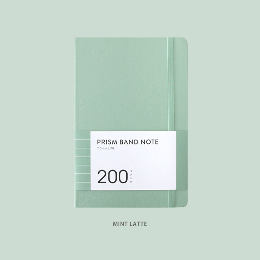 Mint latte - Indigo Prism 200 hardcover lined notebook with elastic band