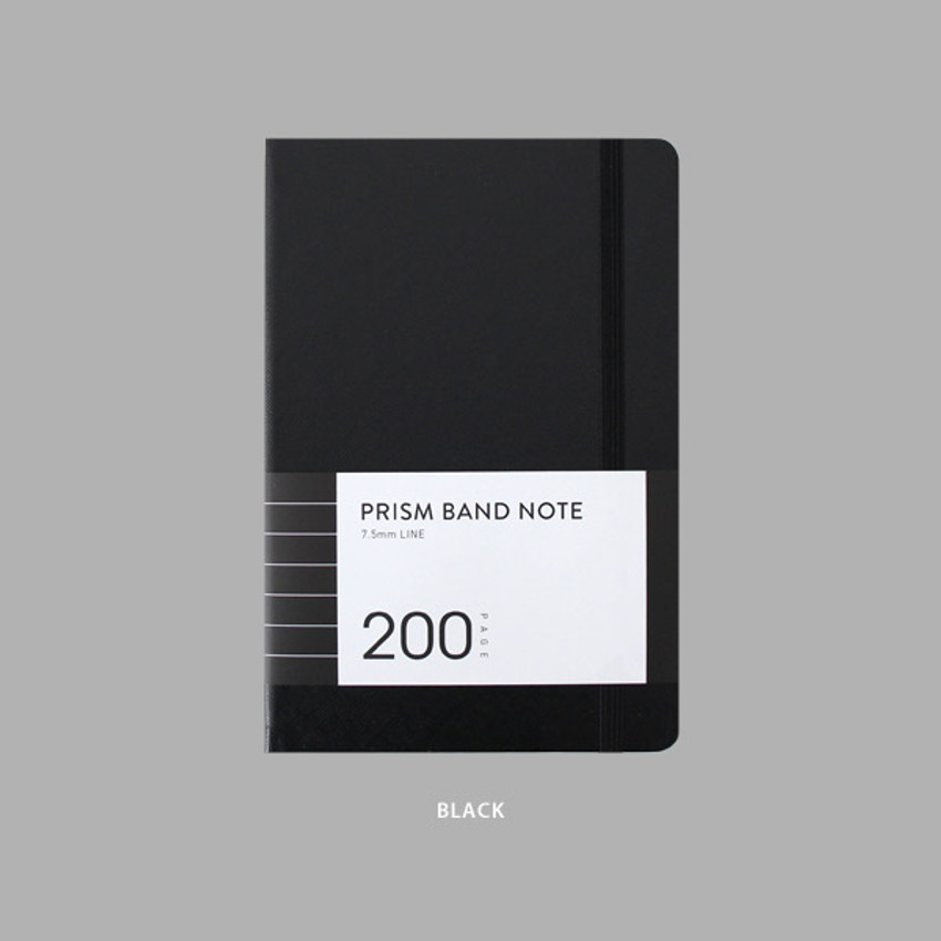 Black - Indigo Prism 200 hardcover lined notebook with elastic band
