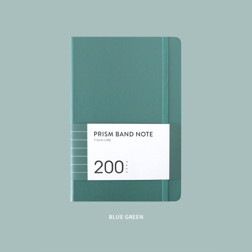 Blue green - Indigo Prism 200 hardcover lined notebook with elastic band