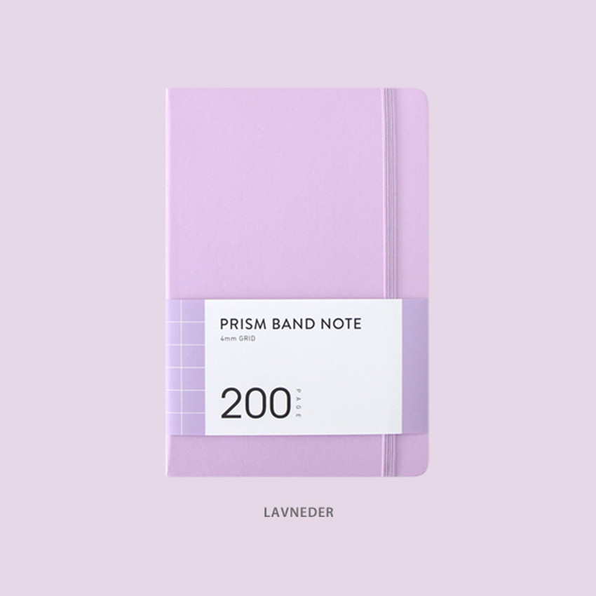 Lavender - Indigo Prism 200 hardcover grid notebook with elastic band