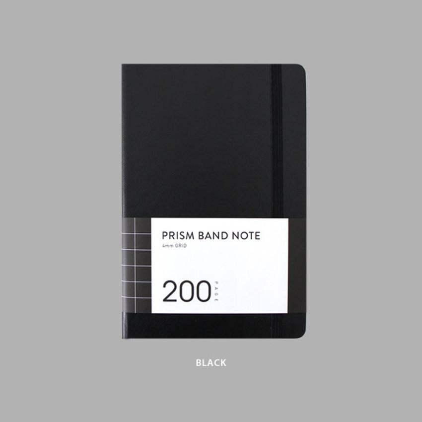 Black - Indigo Prism 200 hardcover grid notebook with elastic band