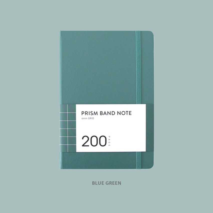 Blue Green - Indigo Prism 200 hardcover grid notebook with elastic band