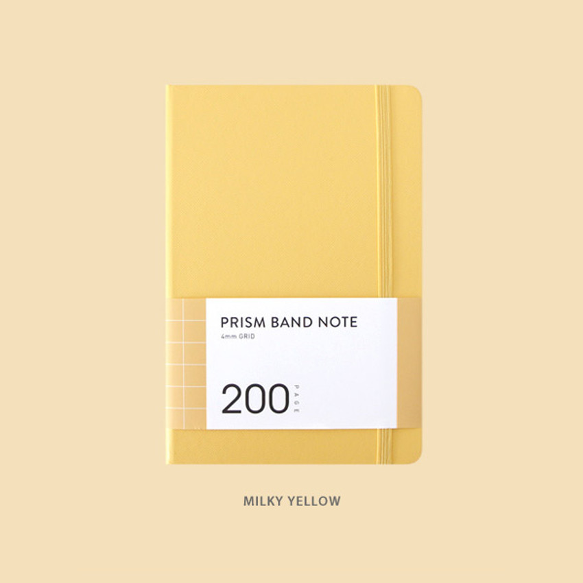 Milky Yellow - Indigo Prism 200 hardcover grid notebook with elastic band