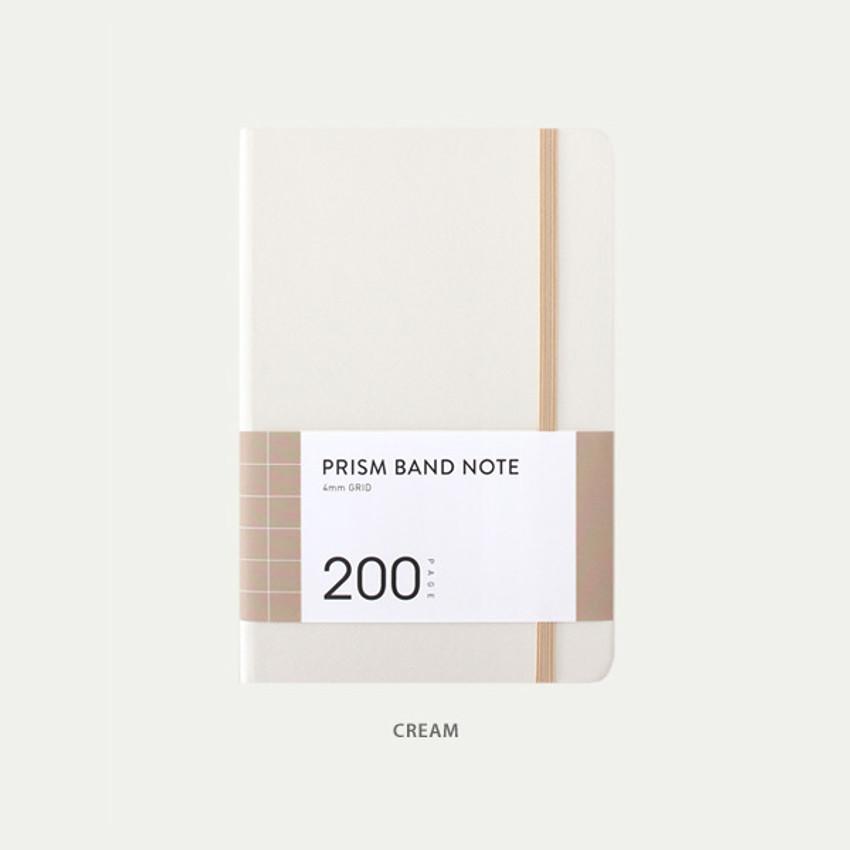 Cream - Indigo Prism 200 hardcover grid notebook with elastic band