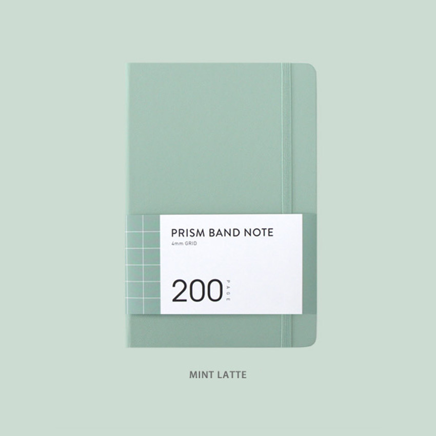 Mint latte - Indigo Prism 200 hardcover grid notebook with elastic band