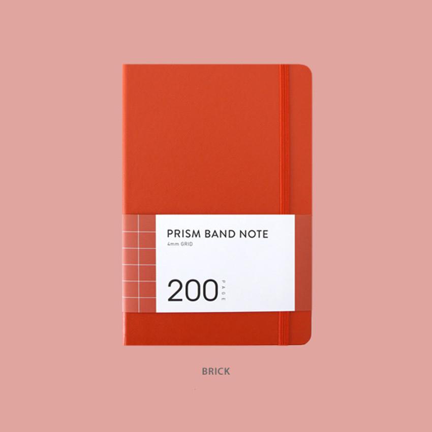 Brick - Indigo Prism 200 hardcover grid notebook with elastic band
