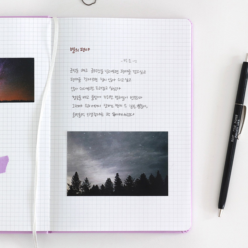 Usage example - Indigo Prism 200 hardcover grid notebook with elastic band