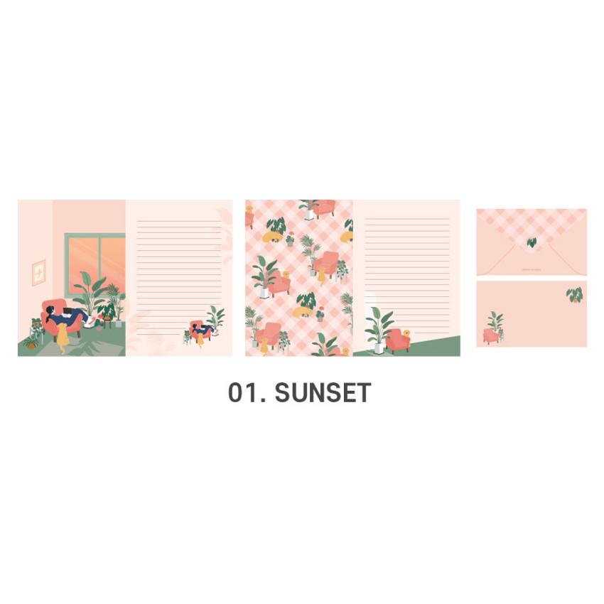 01 Sunset - ICONIC Haru letter and envelope set