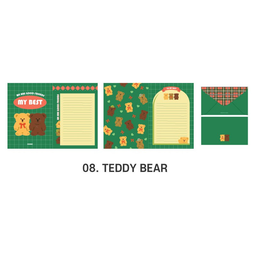 08 Teddy Bear - ICONIC Merry letter and envelope set