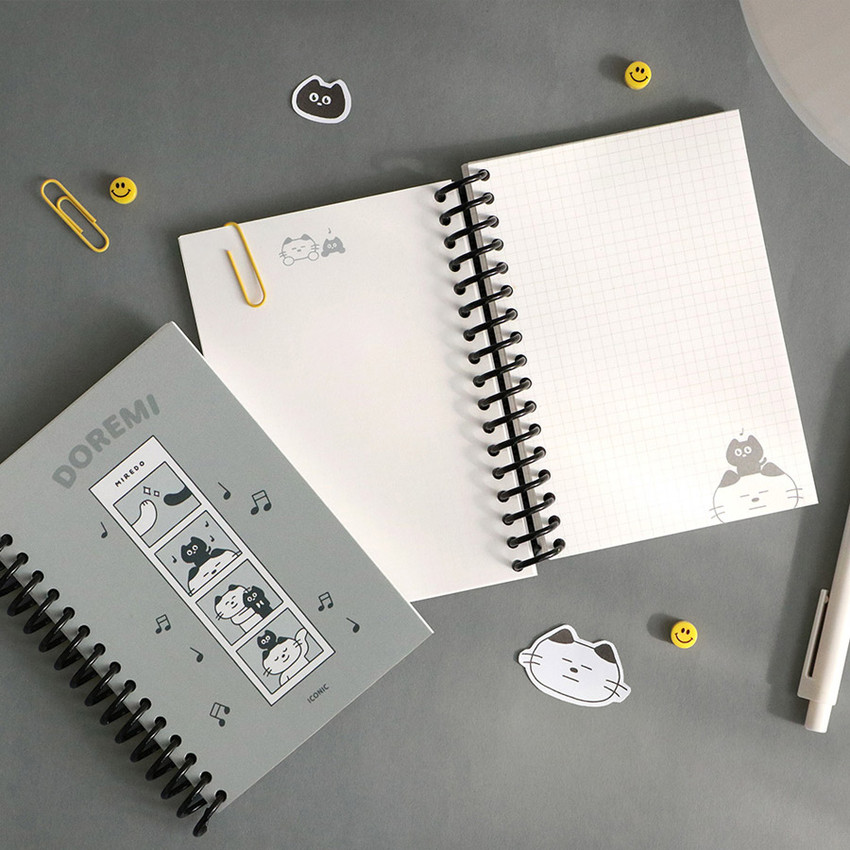 03 Gray (grid) - ICONIC Doremi A6 size spiral bound notebook