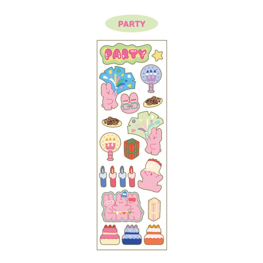 Party - DESIGN GOMGOM Reeli gold line clear sticker