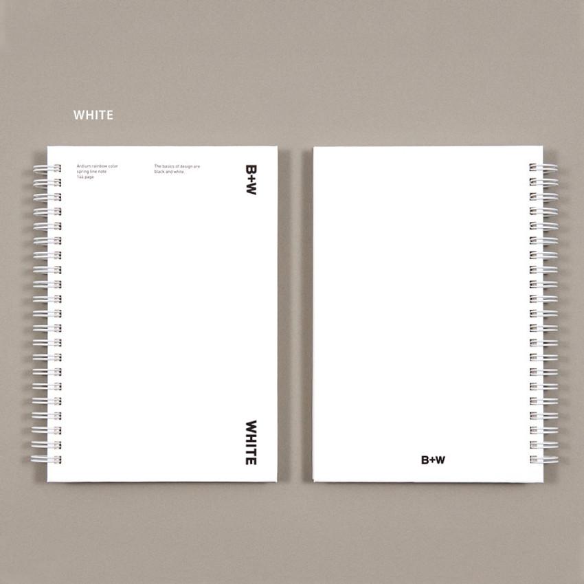 White - Ardium B+W wire bound hardcover lined notebook