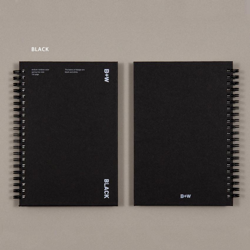 Black - Ardium B+W wire bound hardcover lined notebook
