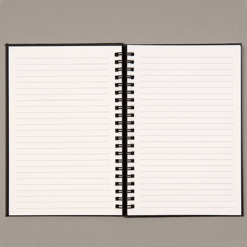 Lined notebook - Ardium B+W wire bound hardcover lined notebook