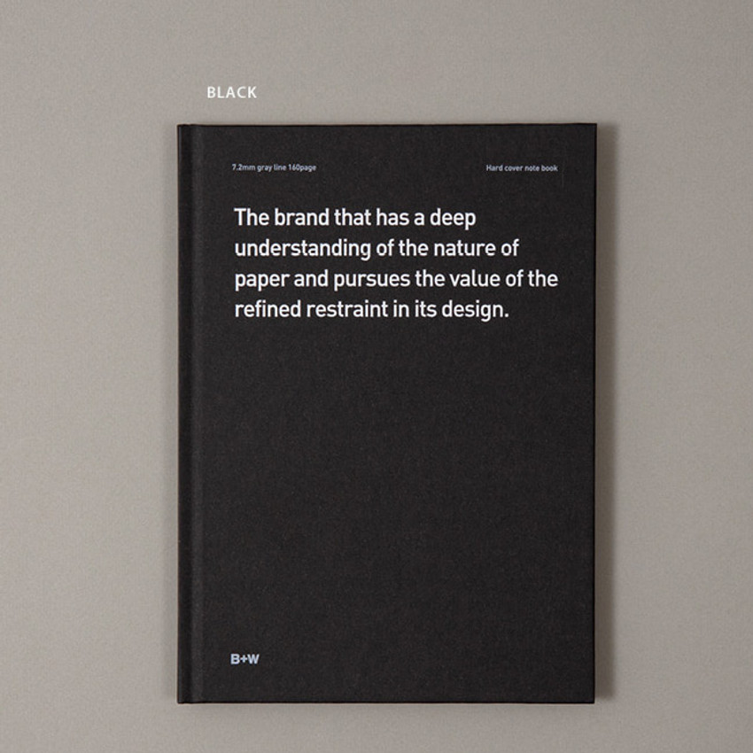 Black - Ardium B+W A5 size hardcover lined notebook