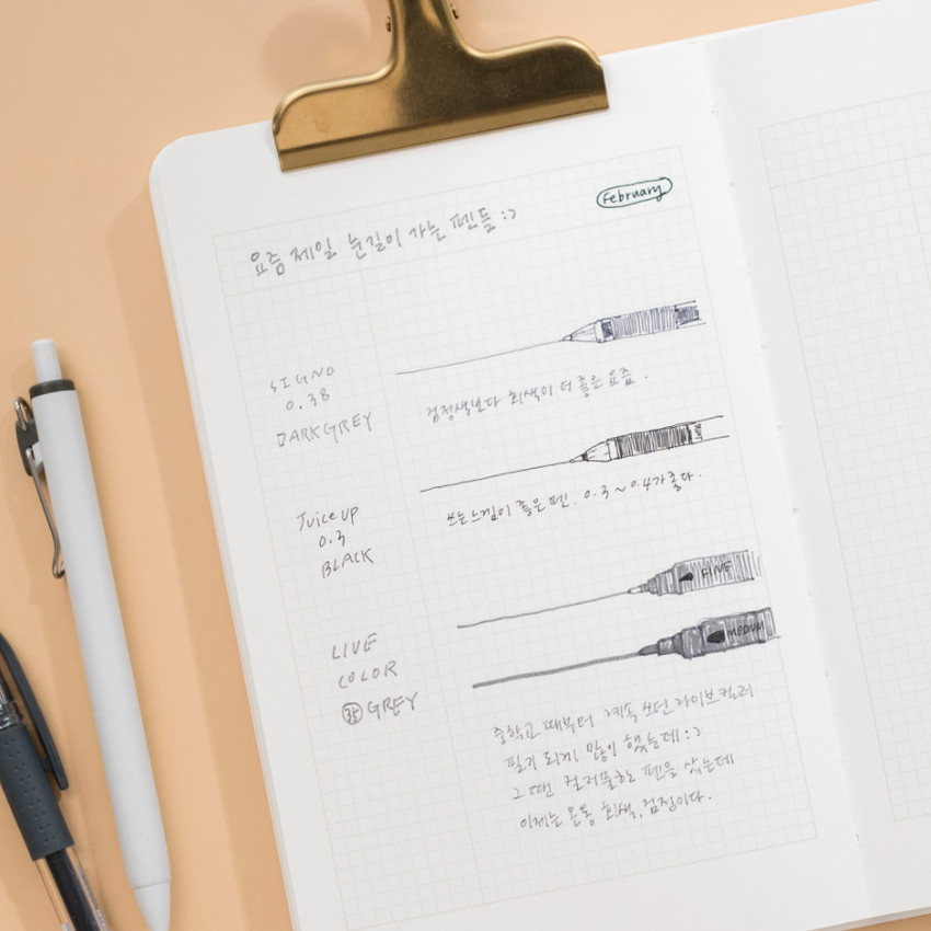 One part note usage example - Byfulldesign The way of recording grid notebook