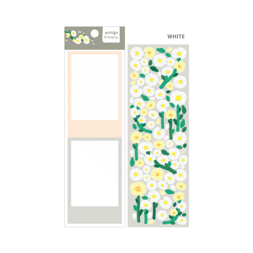 White - Wanna This Forest's daisy paper sticker