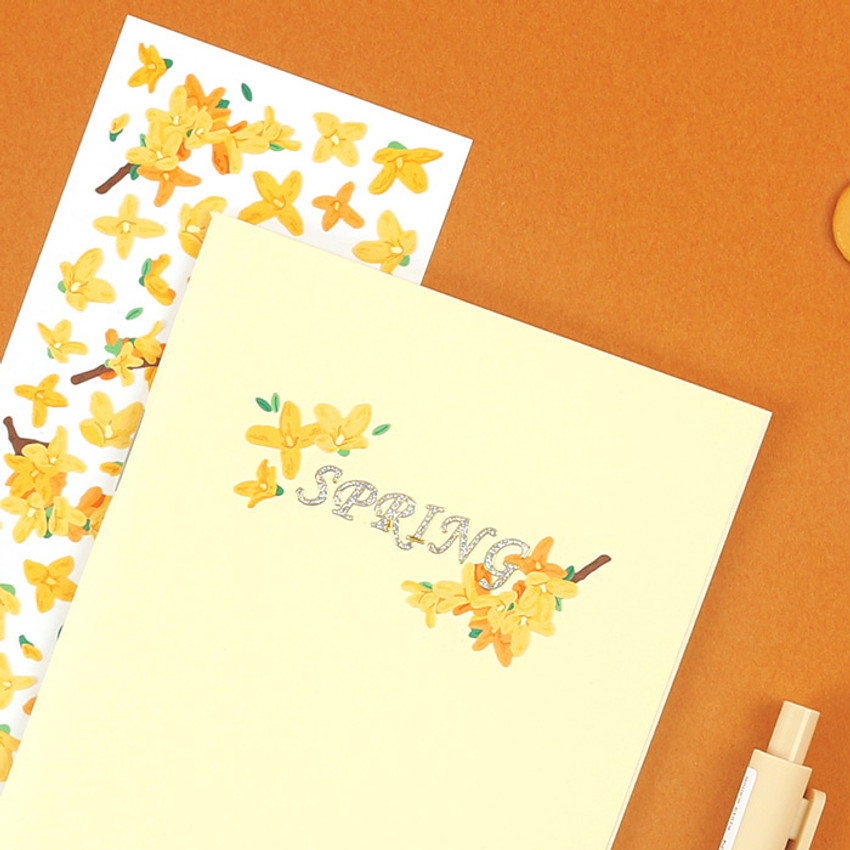 Usage example - Wanna This Forest's spring flowers paper sticker