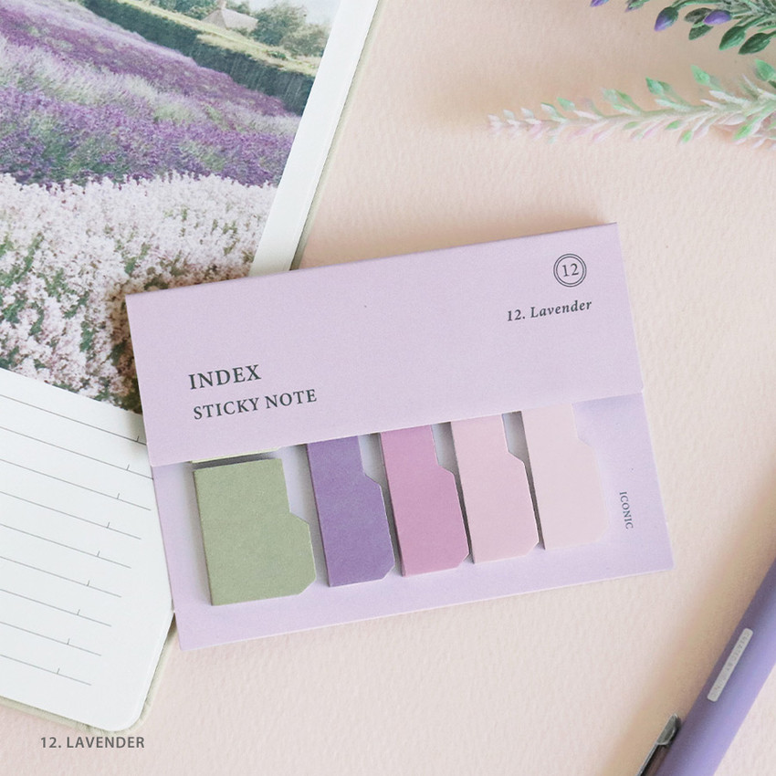 12. Lavender - ICONIC Index sticky memo point bookmark set 05-12