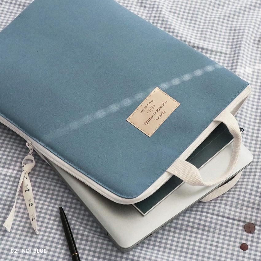 02 Indi blue - ICONIC Cottony A4 laptop notebook zipper sleeve case