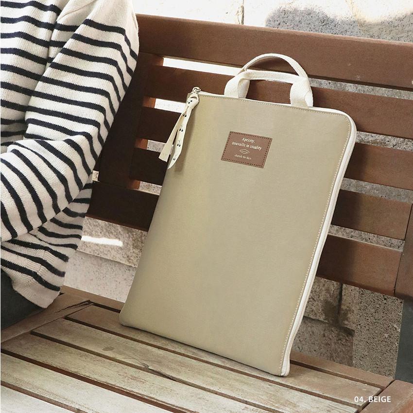 04 Beige -  ICONIC Cottony A4 laptop notebook zipper sleeve case