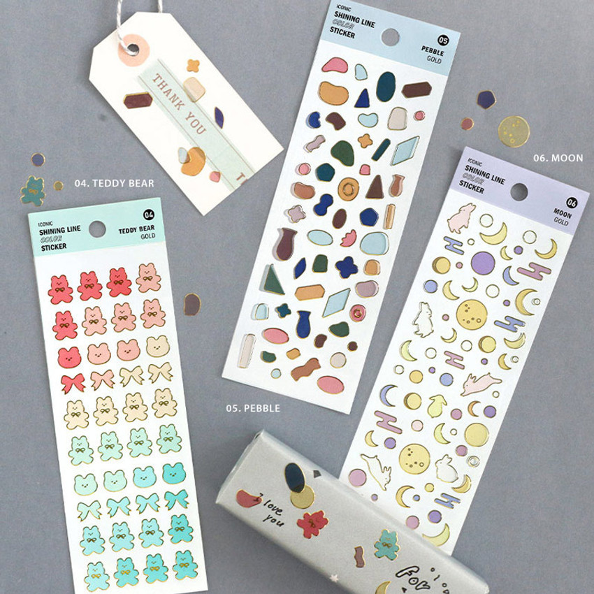 Pack of ICONIC Shining line color removable sticker pack