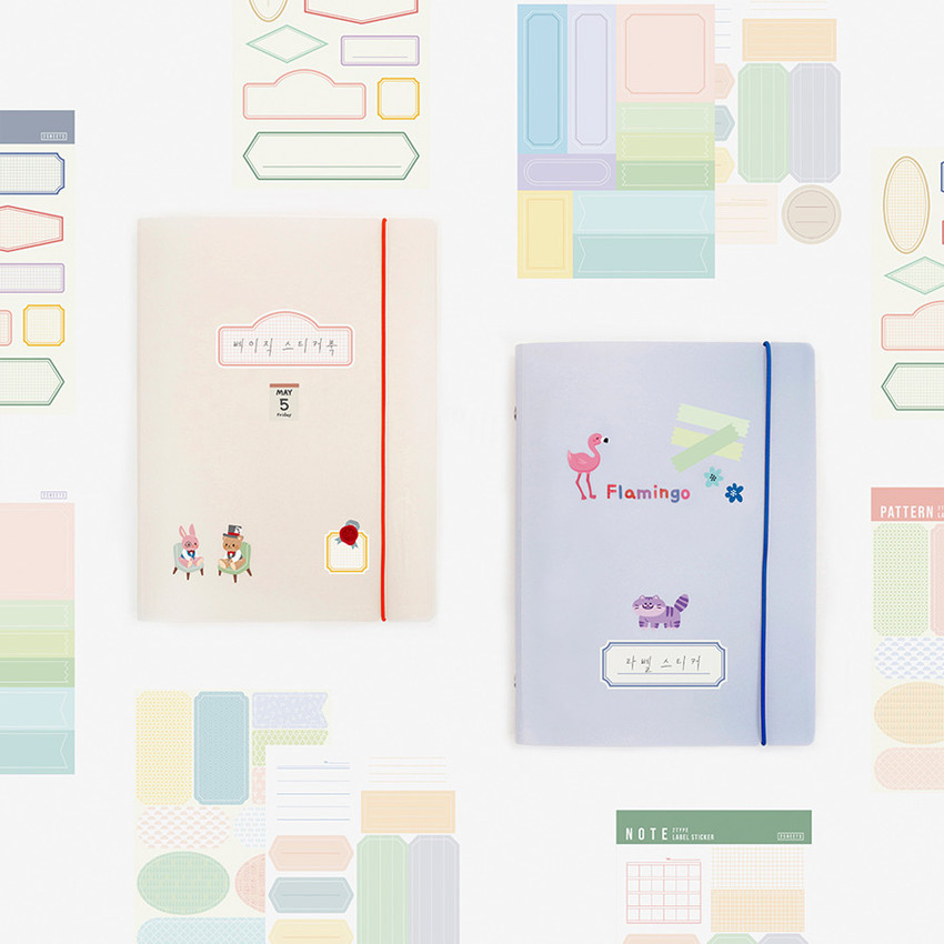 Basic 20 rings sticker organizer book with label stickers