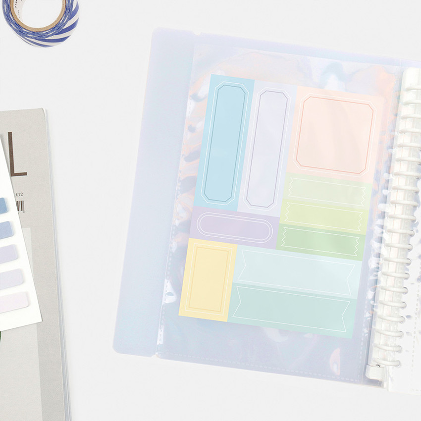 Usage example - Basic 20 rings sticker organizer book with label stickers