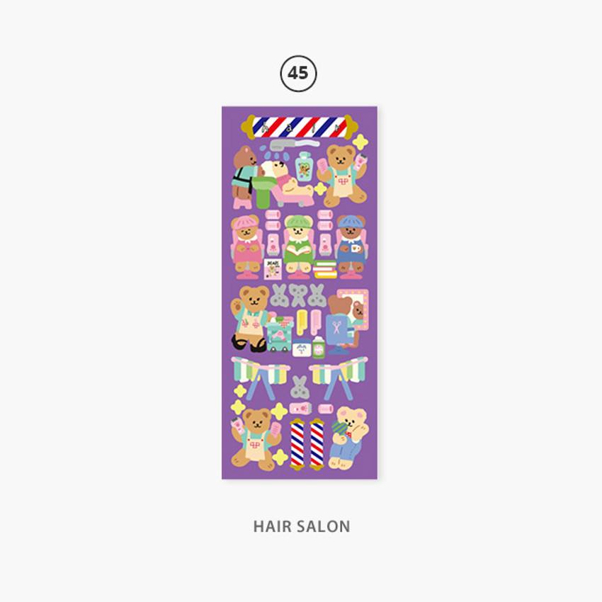 45 Hair salon - Second Mansion Juicy bear removable sticker seal 40-45