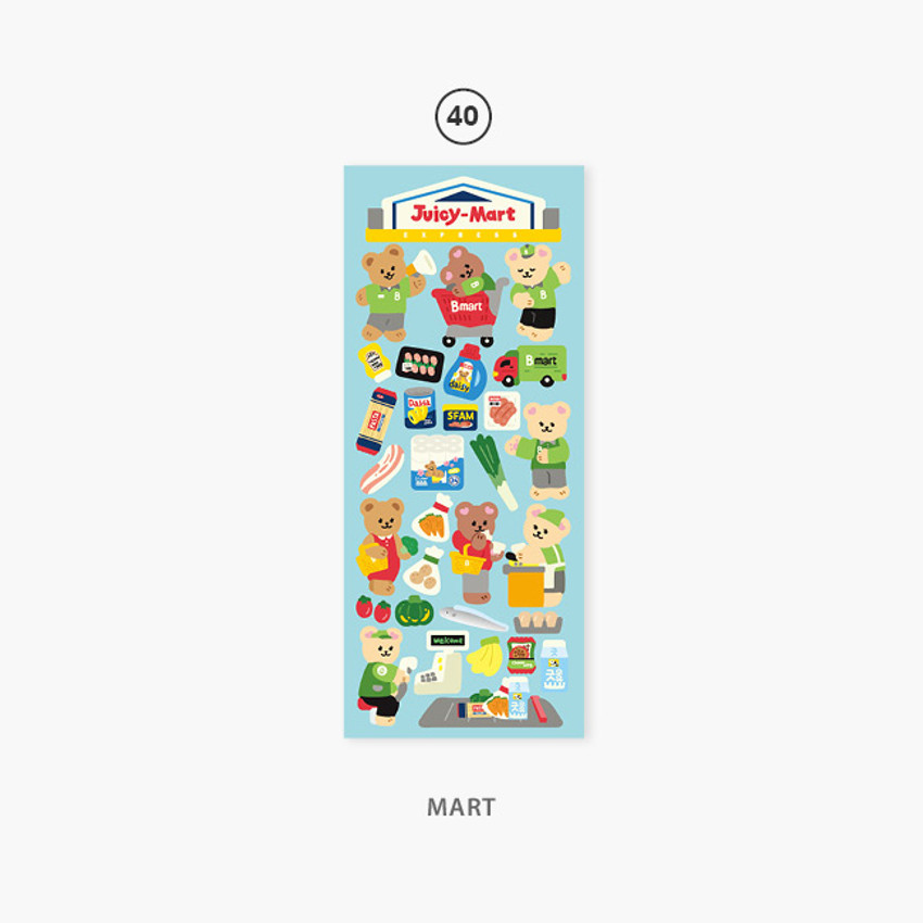 40 mart - Second Mansion Juicy bear removable sticker seal 40-45