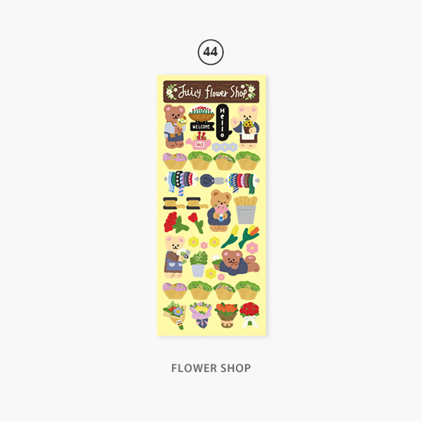 44 Flower shop - Second Mansion Juicy bear removable sticker seal 40-45