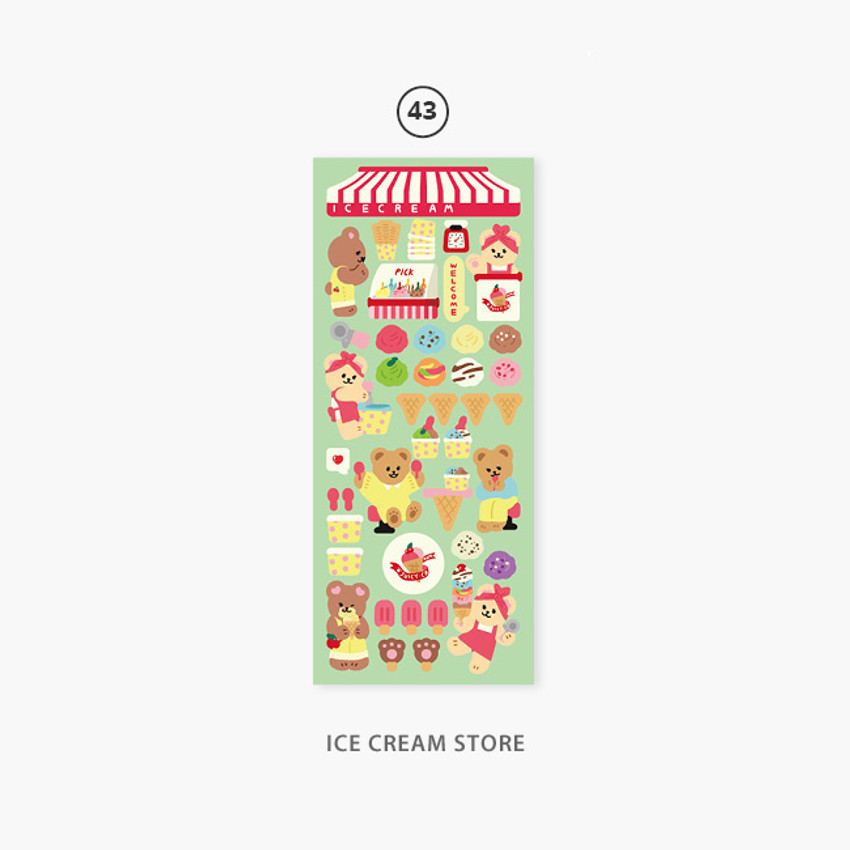 43 Ice cream store - Second Mansion Juicy bear removable sticker seal 40-45
