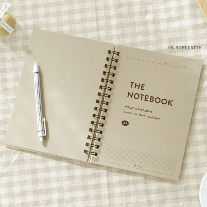 05 Cafe Latte - ICONIC Compact A5 wire bound grid notebook