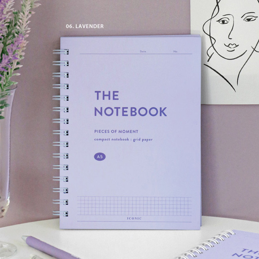 06 Lavender - ICONIC Compact A5 wire bound grid notebook
